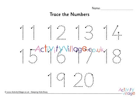 Number 11 Tracing Worksheet Trace the Numbers 11 to 20 Dotted