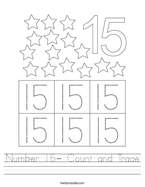 Number 15 Tracing Worksheet Number 15 Count and Trace Worksheet Twisty Noodle