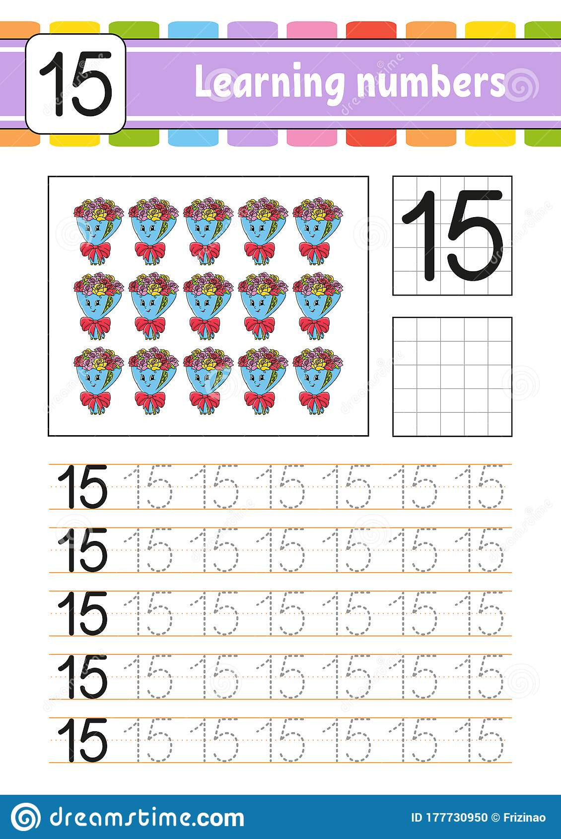 Number 15 Tracing Worksheet Number 15 Trace and Write Handwriting Practice Learning