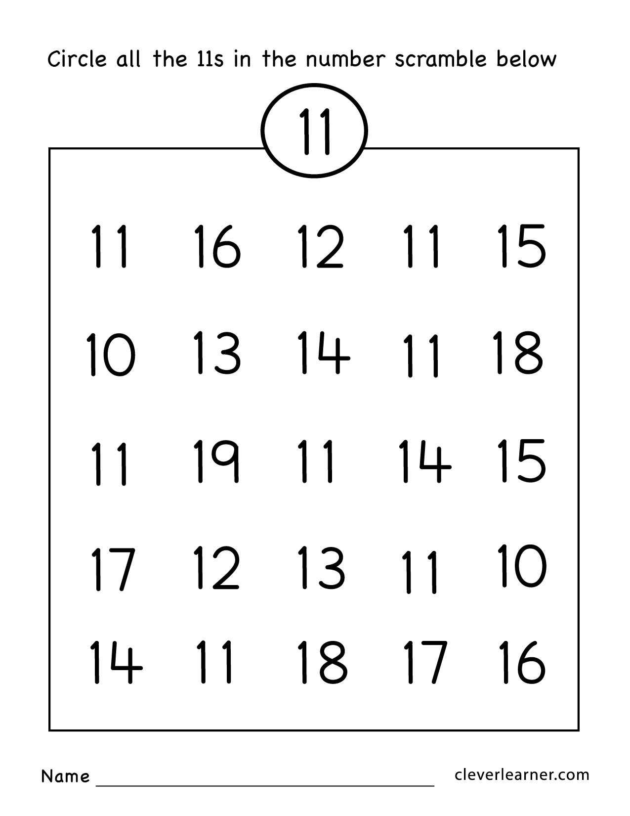 Number 15 Worksheets for Preschoolers Number Eleven Writing Counting and Identification Printable