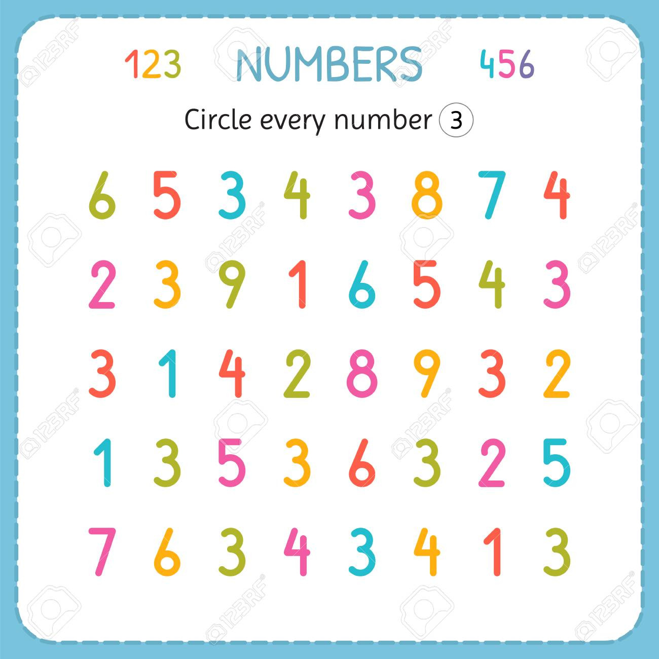 photo stock vector circle every number three numbers for kids worksheet for kindergarten and preschool training to writ