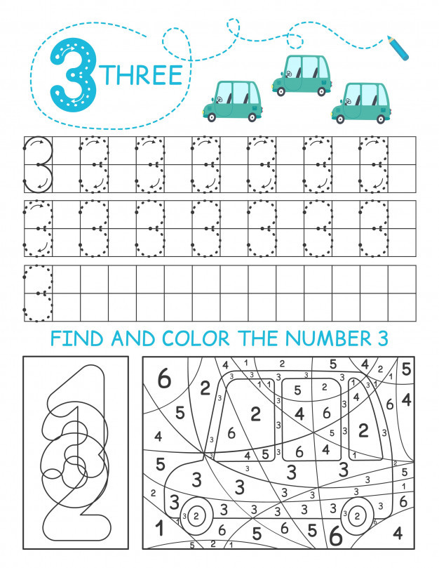 write numbers 3 three tracing worksheet with cars for boy