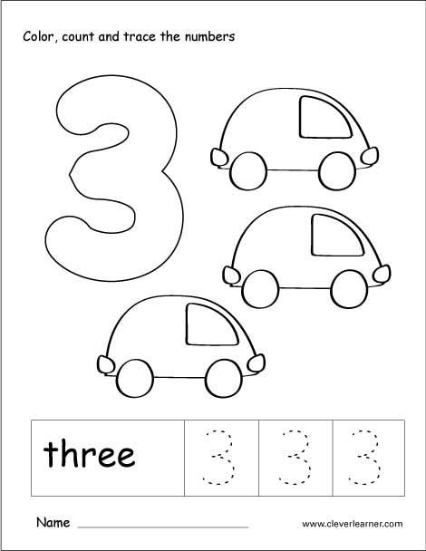 Number 3 tracing and colouring worksheet for kindergarten