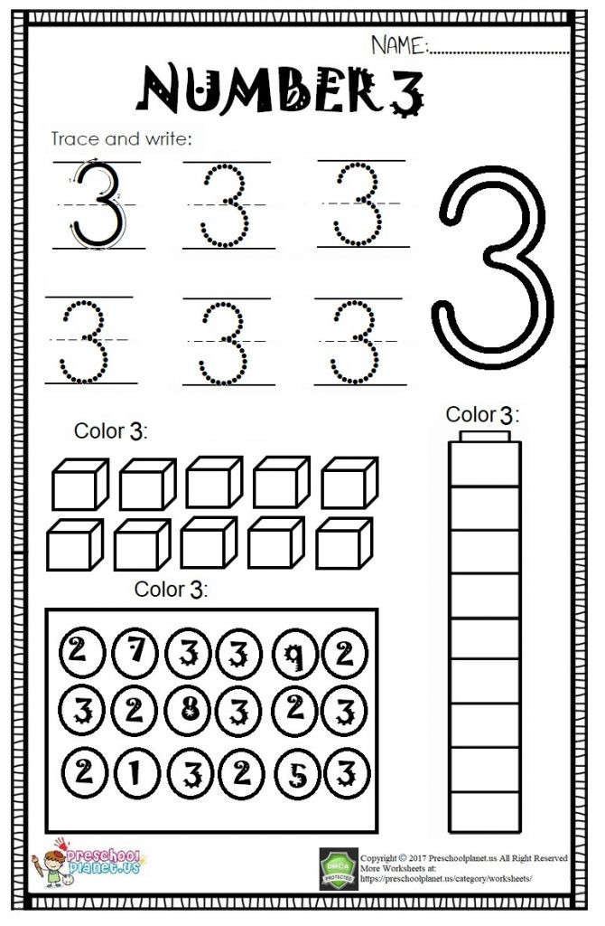 number 3 worksheet for kids