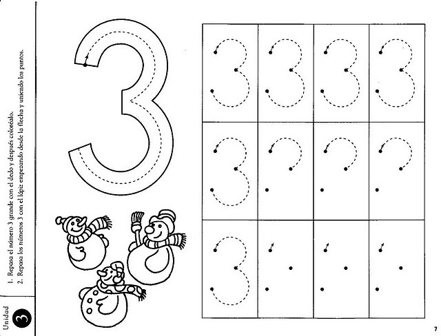 number three coloring and tracing worksheets 35