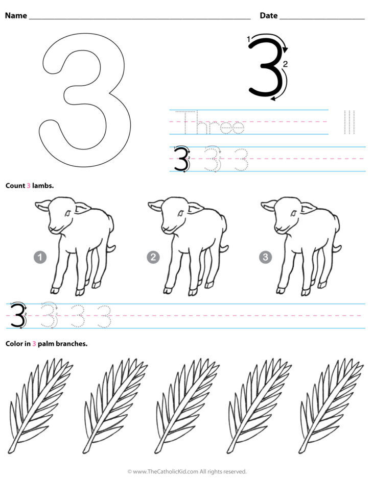 catholic number 3 worksheets preschool kindergarten cnt mls 730x945