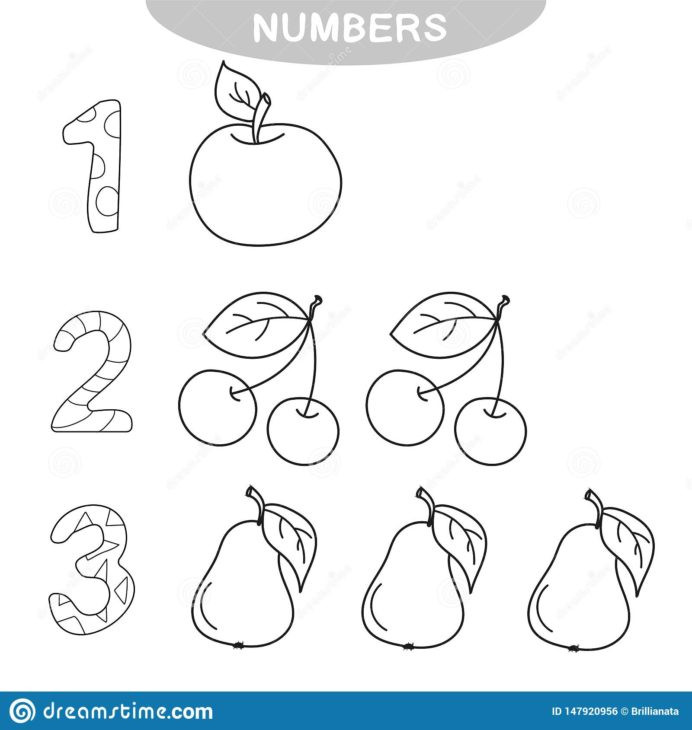 Number 3 Worksheets Preschool Educational Game Learning Numbers Coloring Book for