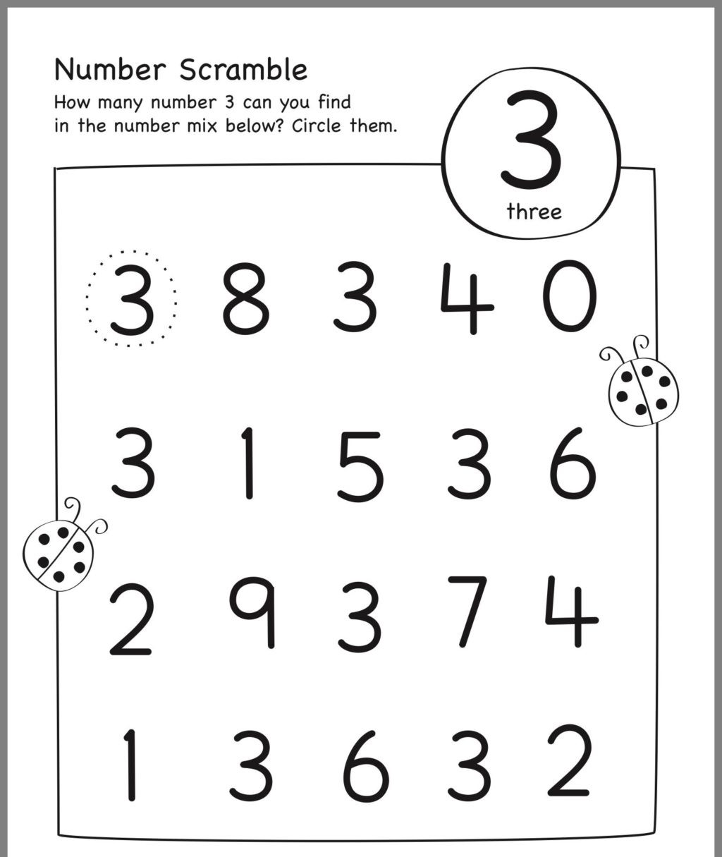 Number 3 Worksheets Preschool Math Worksheet Mathematicseschool Worksheets Math