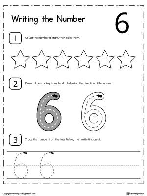 Number 6 Preschool Worksheets Learn to Count and Write Number 6