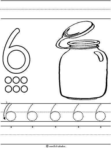 Number 6 Preschool Worksheets Number Six 6 Tracing and Coloring Worksheets 7