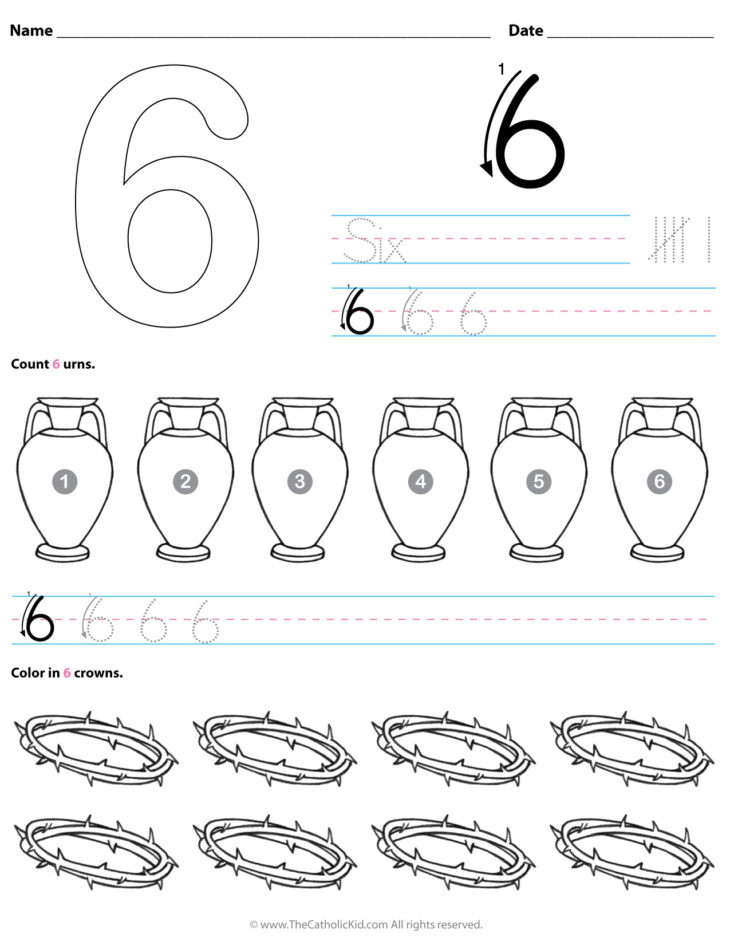 Number 6 Preschool Worksheets Six Archives the Catholic Kid Catholic Coloring Pages