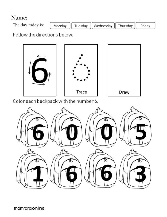 Number 6 Worksheets Preschool Recognizing Numbers Worksheet Printable Worksheets and