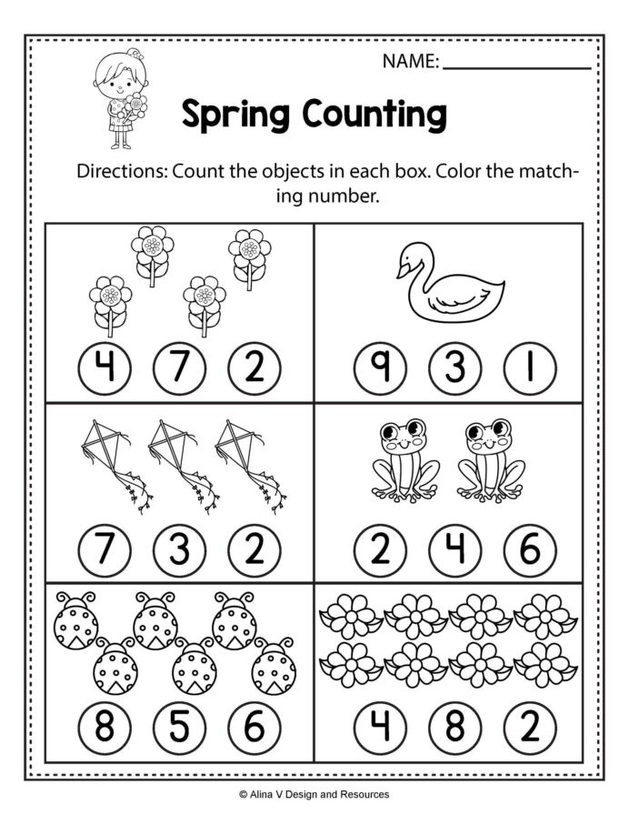 Number 6 Worksheets Preschool Spring Counting Math Worksheets and Write Numbers to Number