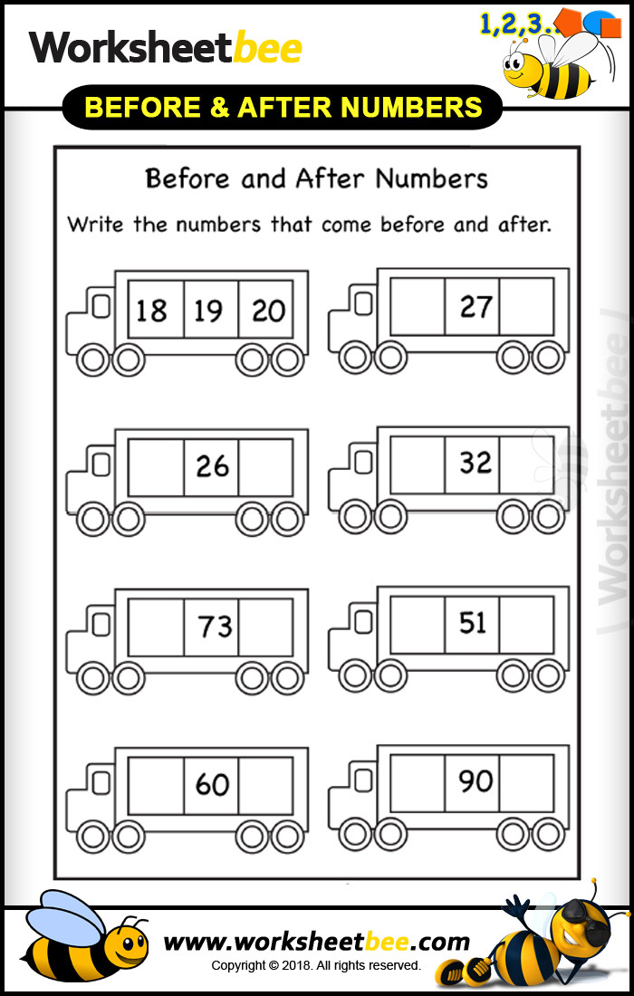 Number before and after Worksheets Printibales Worksheet for Kids before and after Numbers 7