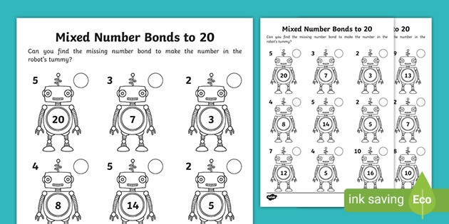 Number Bond Worksheets Free Free Mixed Number Bonds to 20 On Robots Worksheet