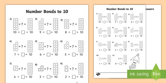 t t number shapes number bonds to 10 activity sheet