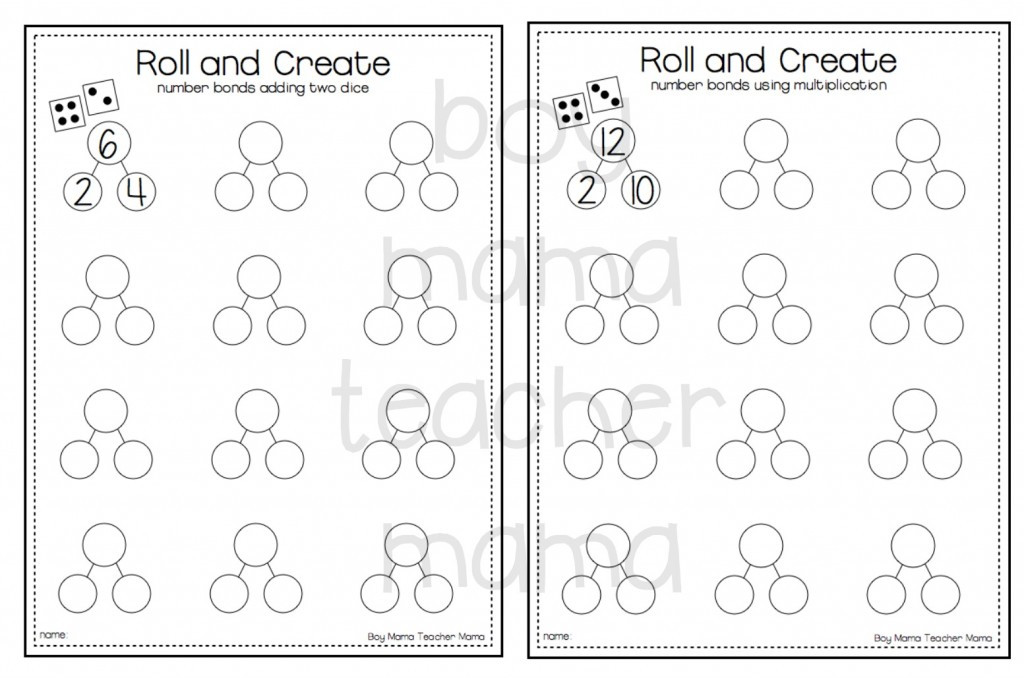 Boy Mama Teacher Mama FREE Roll and Create Number Bonds 2 1024x678