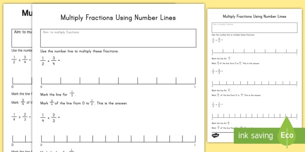 Number Line Multiplication Worksheet Multiply Fractions Using Number Lines Worksheet Worksheet