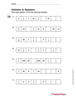 Number Patterns Worksheet 5th Grade Patterns In Numbers Fractions Printable 5th Grade