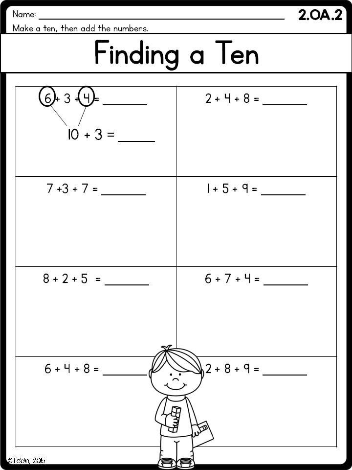 Number Sense and Operations Worksheets 2nd Grade Math Worksheets Oa Addition and Subtraction