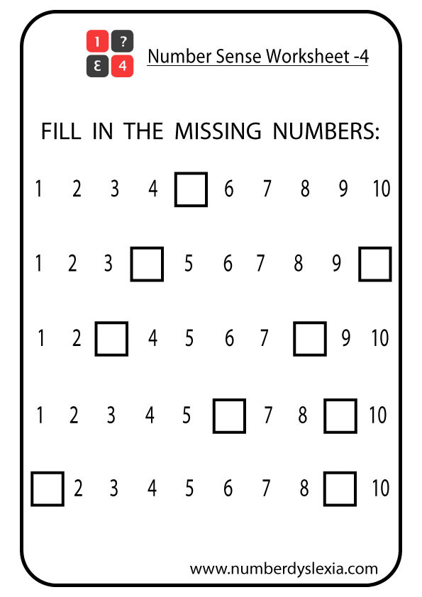 Number Sense and Operations Worksheets Free Printable Number Sense Worksheets for Kindergarten [pdf