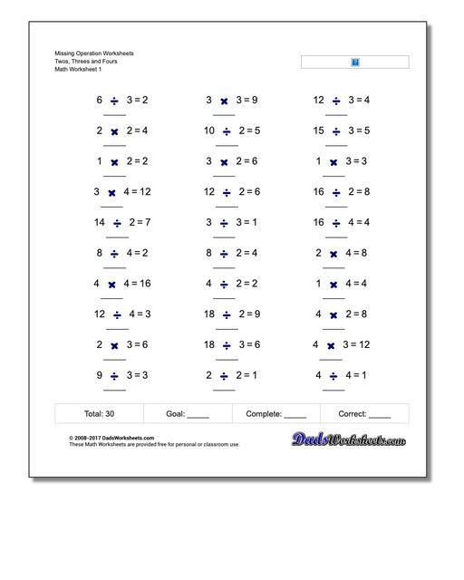 Number Sense and Operations Worksheets Missing Operations