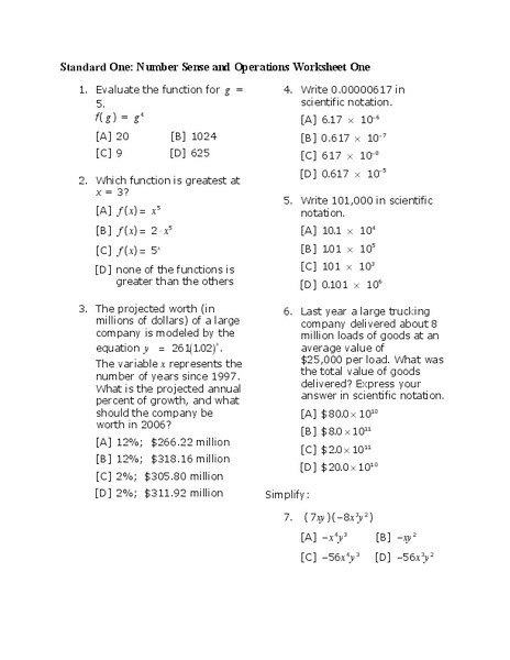 Number Sense and Operations Worksheets Number Sense and Operations Worksheet for 8th 10th Grade