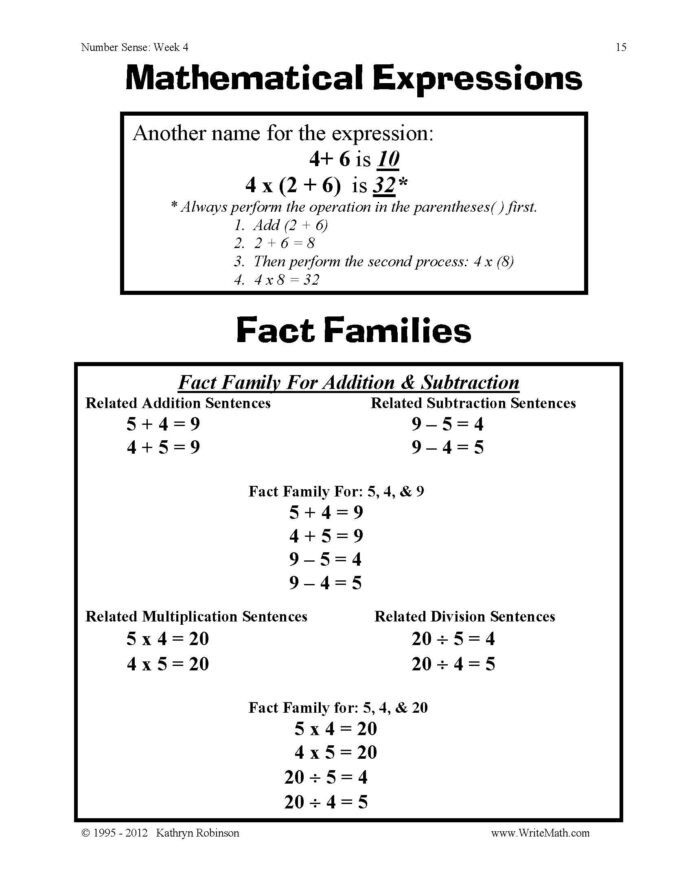 Number Sense and Operations Worksheets Number Sense Worksheets 3rd 4th 5th Grade Math Just Turn and
