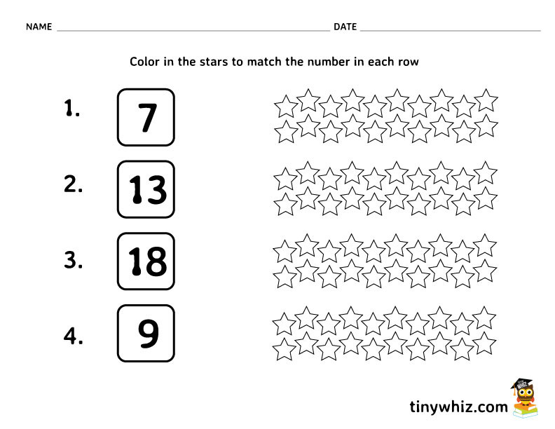 Number the Stars Worksheets Free Free Math Worksheet Color In the Stars Tiny Pre Printable