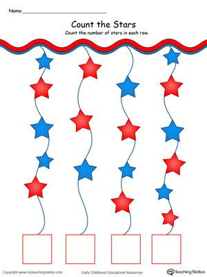 Number the Stars Worksheets Free Patriotic Count and Write the Number Of Stars In Color