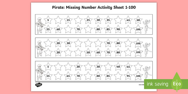 t n 5604 pirate missing number 1 100 activity sheets