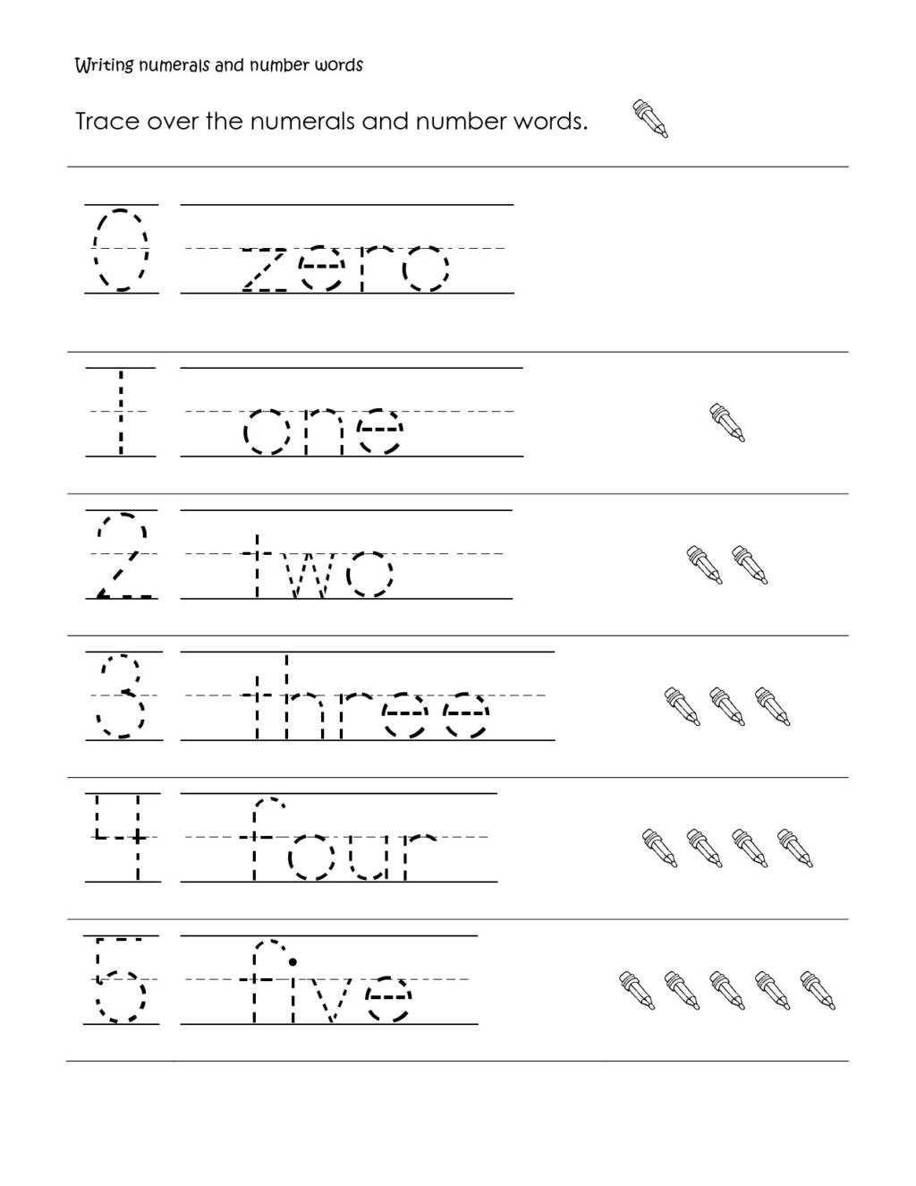 Number Word Worksheets for Kindergarten Worksheet Beginning Writing Activities forgarten Numbers