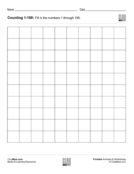 Number Worksheets 1 100 Counting Chart 1 to 100 Blank – Childrens Educational