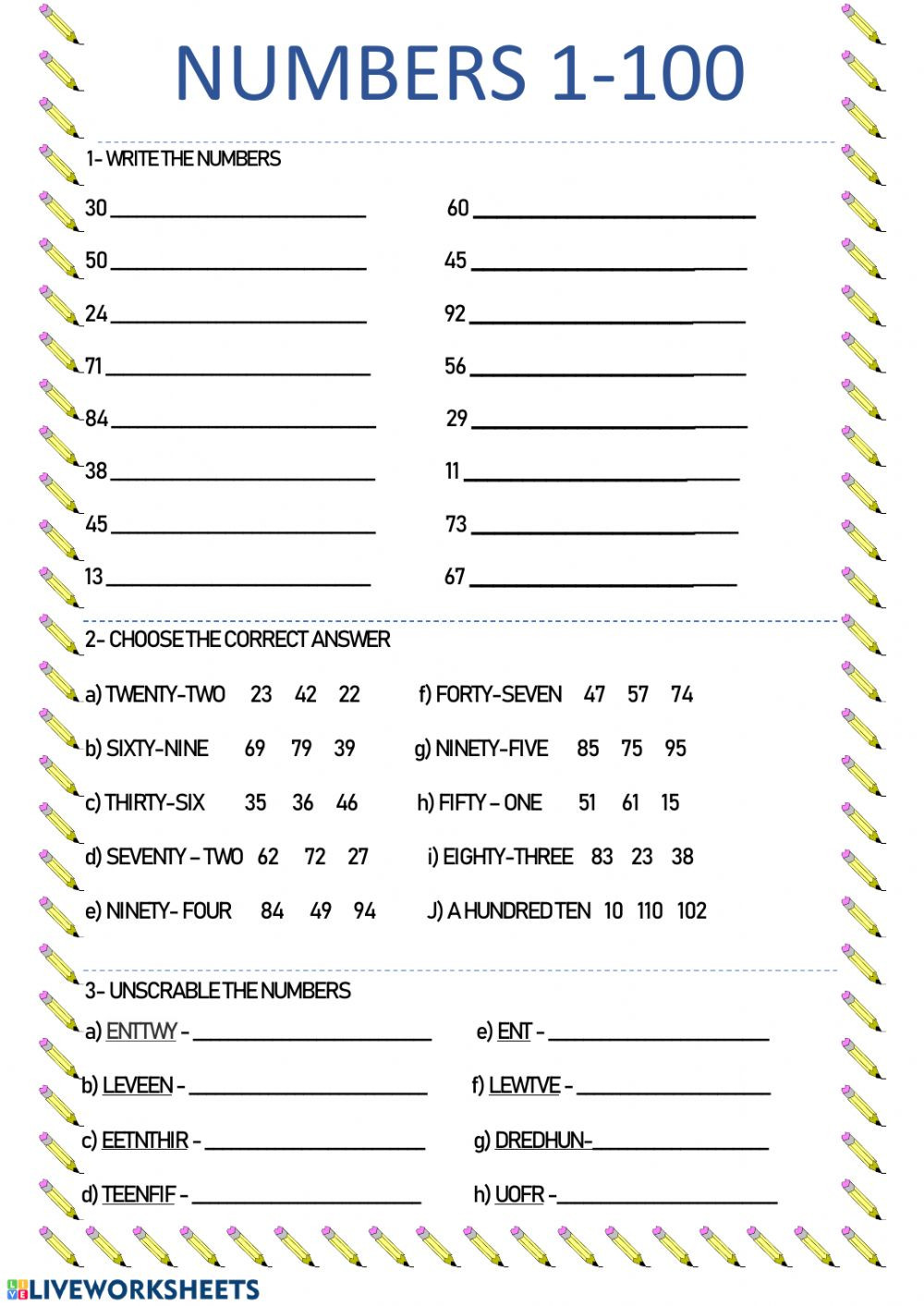 Number Worksheets 1 100 Numbers 1 100 Online Activity