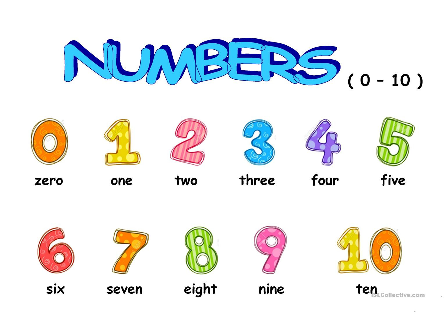 Numbers 0 10 Worksheets Numbers 0 10 English Esl Worksheets for Distance