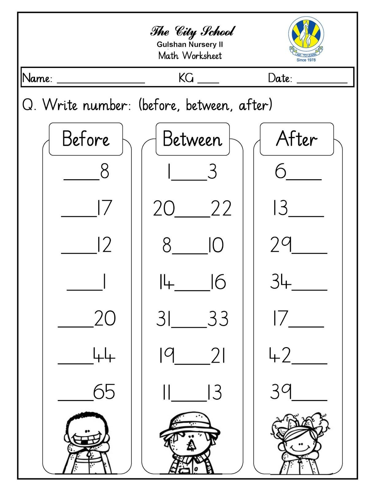 Numbers before and after Worksheet Numbers before after and Between Free Printable