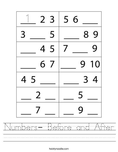 Numbers before and after Worksheet Numbers before and after Worksheet Twisty Noodle