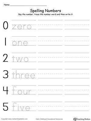 tracing and writing number words 0 5