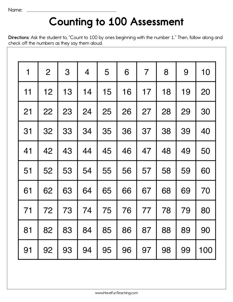 Numbers to 100 Worksheet Counting to 100 assessment Worksheet