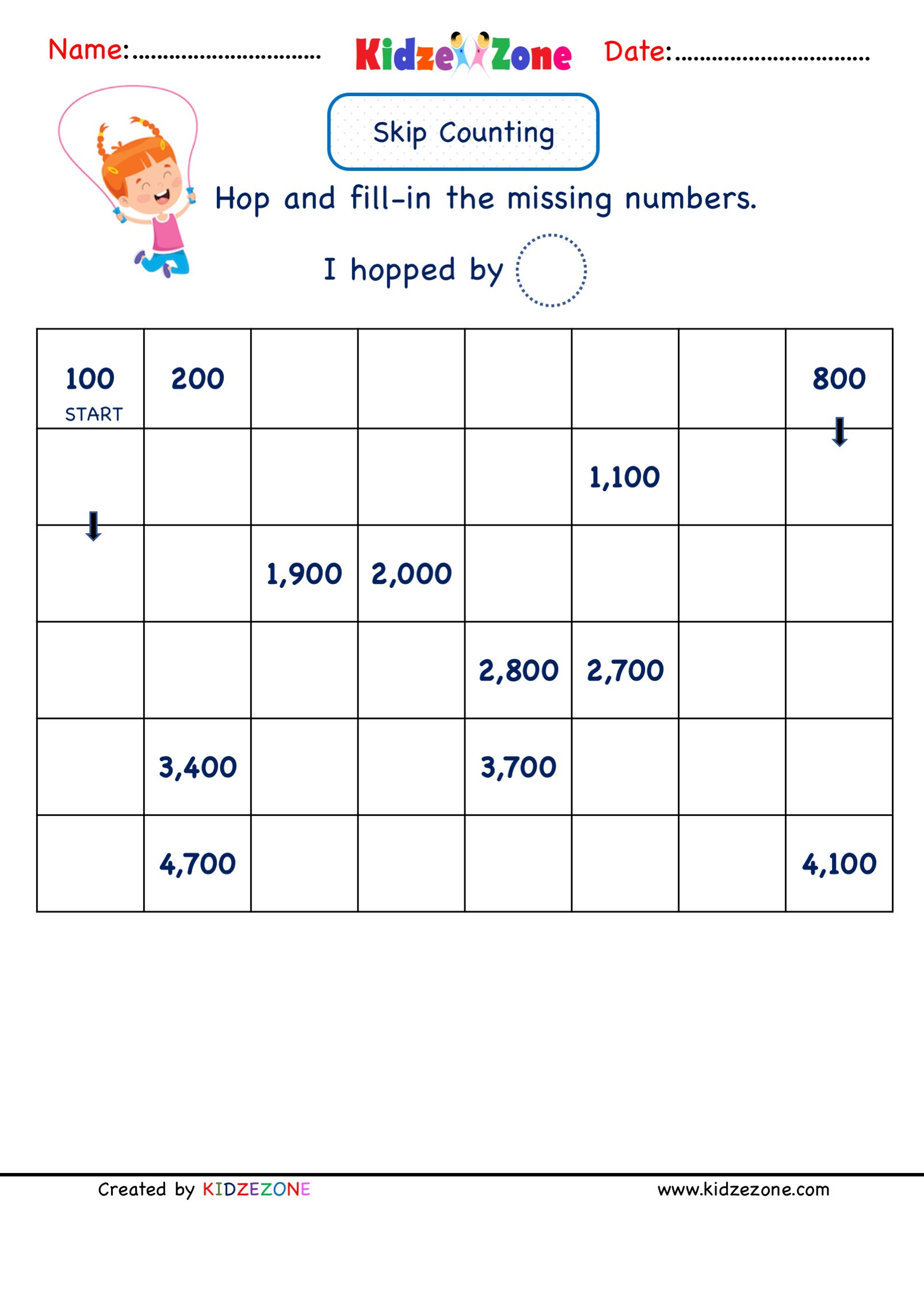 Numbers to 100 Worksheet Grade 2 Math Number Worksheets Skip Counting by 100
