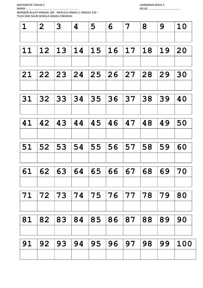 Numbers to 100 Worksheet Trace Numbers 1 100
