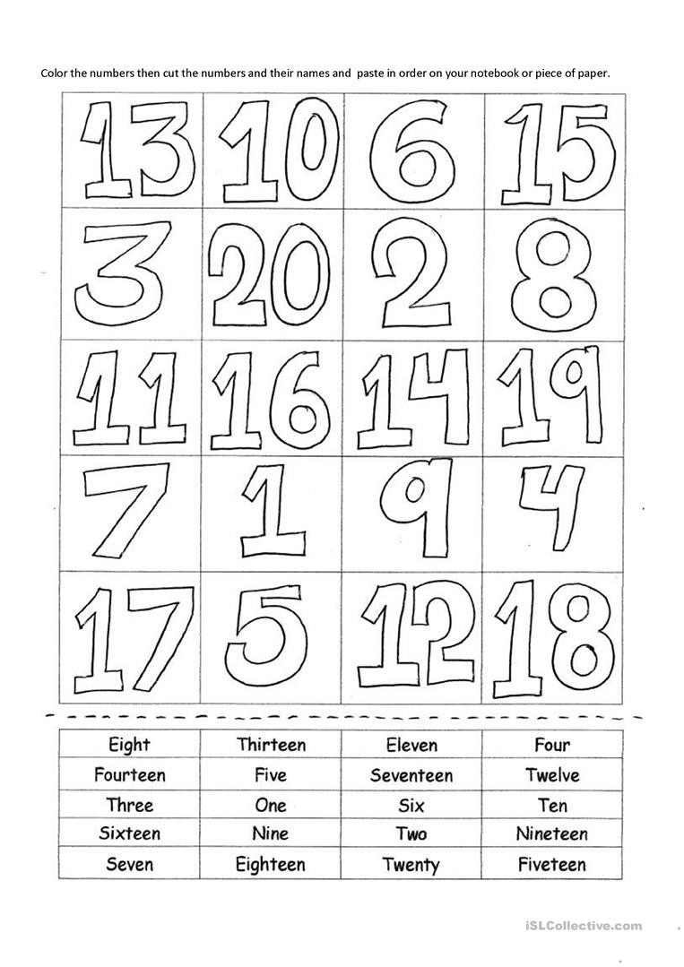Numbers to 20 Worksheets Numbers 1 20 English Esl Worksheets for Distance Learning
