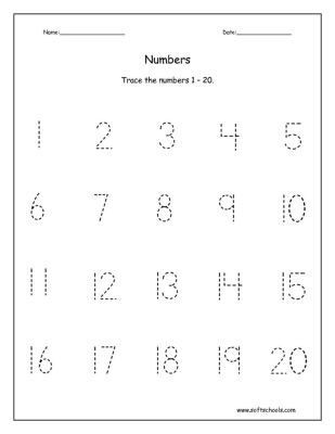 Numbers to 20 Worksheets Printables Traceable Numbers Worksheets 1 20 Trace the
