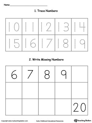 Numbers to 20 Worksheets Trace and Write Missing Numbers 10 Through 20