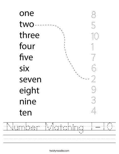 Numbers Worksheets 1 10 Number Matching 1 10 Worksheet Twisty Noodle