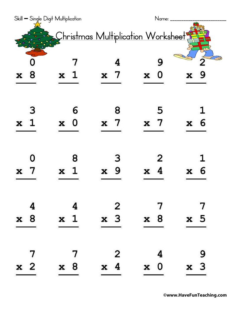 One Digit Multiplication Worksheets Christmas Single Digit Multiplication Worksheet
