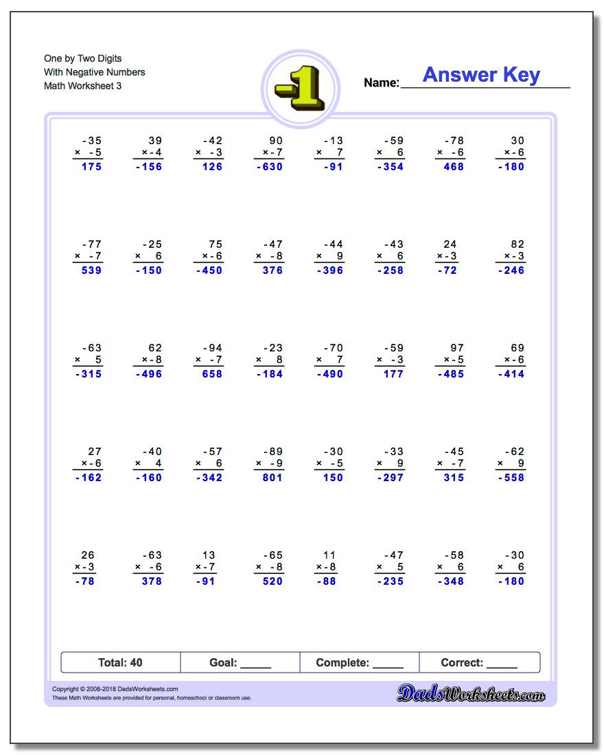 One Digit Multiplication Worksheets Multi Digit Multiplication