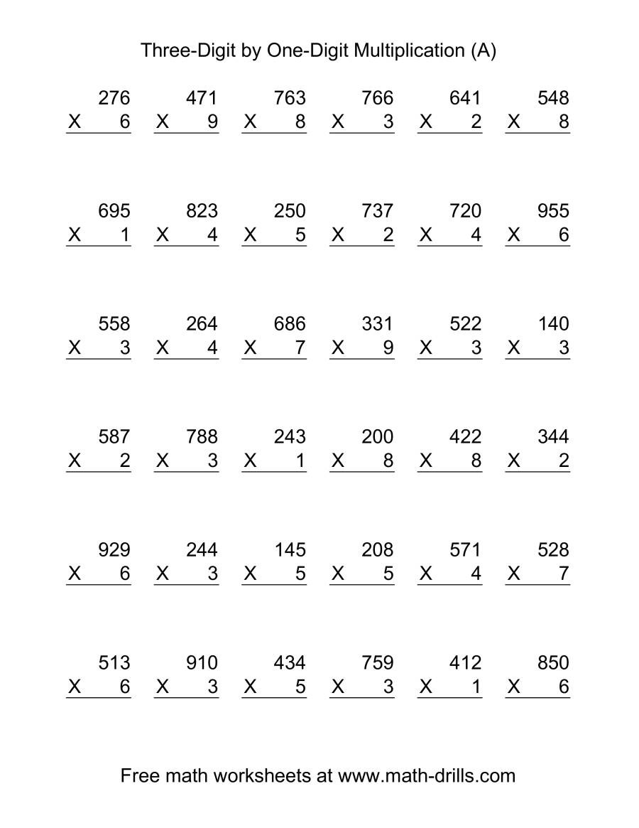 One Digit Multiplication Worksheets Multiplying Three Digit by E Digit 36 Per Page A