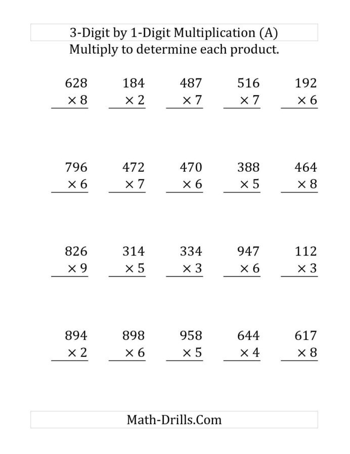 One Digit Multiplication Worksheets the Multiplying Digit Number by Print Multiplication