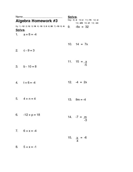 One Step Equations Multiplication Worksheet Algebra Homework E Step Equations Worksheet for 7th 9th
